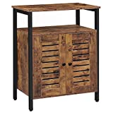 HOOBRO Bathroom Floor Storage Cabinet, Standing Cabinet, Industrial Cupboard with Hidden Adjustable Shelf and Door in Bedroom, Living Room, Study, Kitchen, Corridor, Rustic Brown BF23CW01