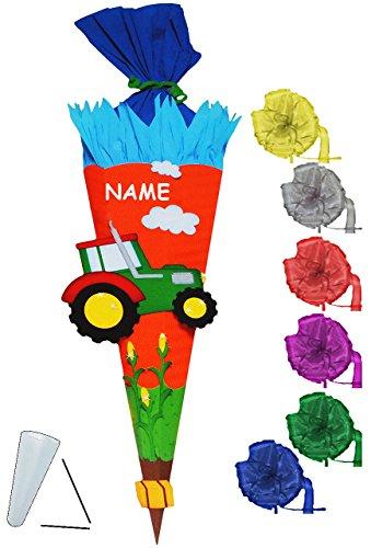 alles-meine.de GmbH BASTELSET Schultüte -  Traktor & Bauernhof  - 70 / 85 cm - incl. Schleife + Name - mit / ohne Kunststoff Spitze - Zuckertüte - Set zum selber Basteln - 6 ec..
