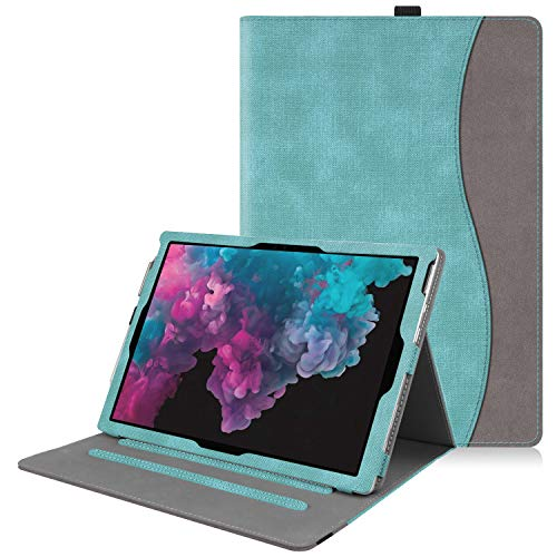 Fintie Case for Microsoft Surface Pro 7 / Surface Pro 6 / Surface Pro 5 / Pro 4 3, Multiple Angle Viewing Folio Stand Cover with Card Pocket, Compatible with Type Cover Keyboard (Turquoise/Brown)