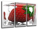 Cuadro Fotográfico Fresa Helada, Fruta Tamaño total: 97 x 62 cm XXL