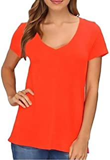 LAmade Women's V-Neck Short Sleeve T-Shirt. Sz: Small. Color: Tomato