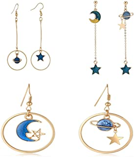 SUNSCSC Enamel Moon Star Earth Planet Drop Hook Earrings Long Pendant Dangle  Jewelry for Woman Girls 27712bf6386f