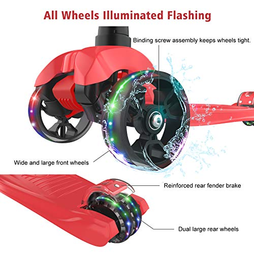 Allek Kick Scooter B02, Lean 'N Glide Scooter with Extra Wide PU Light-Up Wheels and 4 Adjustable Heights for Children from 3-12yrs (Red)
