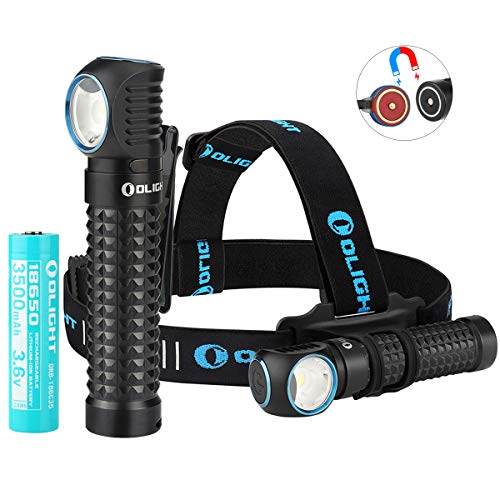Olight Perun 2000 Lumens Multi-functional Right Angle Headlight MCC Rechargeable Cool White 18650 Headlamp and Flashlight, with SKYBEN Battery Box (With Headband)