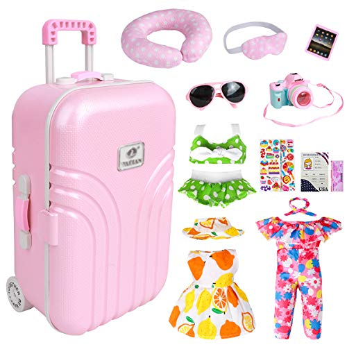 18 Inch Doll Travel Play Set - Doll Accessories with Carry on Suitcase Luggage, 3 Sets of Doll Clothes, Doll Travel Gear Play Set Fit for American Girl
