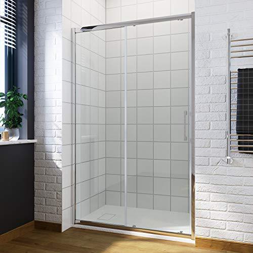 ELEGANT 1600 x 700mm Sliding Shower Enclosure with Anti Slip Resin Tray + 90mm Free Waste 8mm Easy...