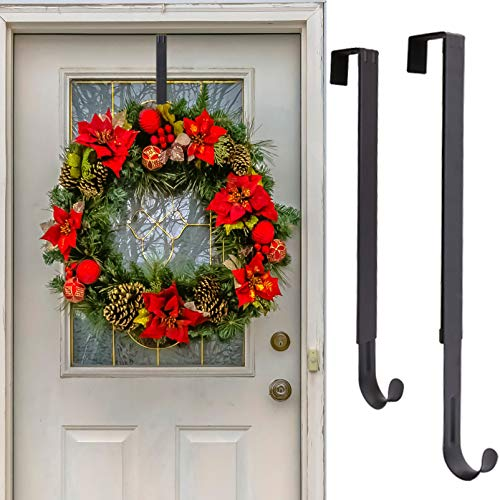 Wreath Hanger, Adjustable Length from 15 to 25 Inches Wreath Hanger for Front Door Heavy Duty with 20LB Upgrade Wreath Hook Holder for Christmas Decorations by AnCintre, Black