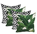 Resort Spa Home Decor Set of 4 Indoor Outdoor Decorative Throw Pillows, Made of Tommy Bahama Fabric Swaying Palms Aloe Green Tropical Palm Leaf & Black White Aztec Geometric - Choose Size (17' x 17')