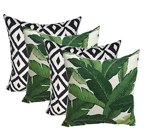 """Set of 4 Indoor Outdoor Decorative Throw Pillows,Tommy Bahama Fabric Swaying Palms Aloe Green Tropical Palm Leaf & Black White Aztec Geometric - Choose Size (17"""" x 17"""")"""