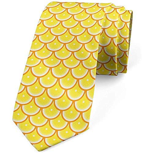 Mathillda De stropdas voor mannen, ronde schijven van retro citrusvruchten, pastelgeel-oranje-perfecte cadeaus voor mode-stropdas