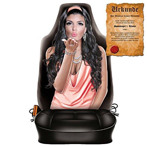 Goodman Design ® Scherzartikel - Sitzbezug für Autos Motiv Kissing Girl Hübsches Mädchen lustige Geschenkidee Autositzbezug mit Lustiger Urkunde