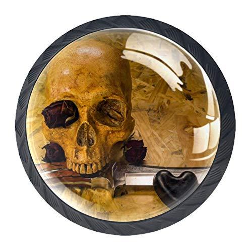Vintage cráneo cuchillo rosa amor corazón 4 Piezas Perilla del Cajón del Gabinete,Mango de un Solo Orificio/Tirador de Puerta de Armario,Decoración del Hogar de Gabinete y Decoración del Hogar