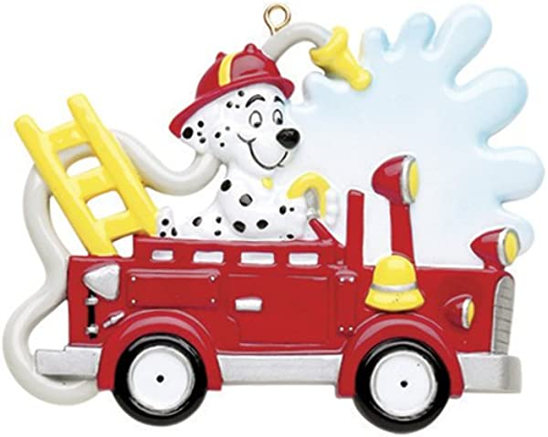 Personalized Fire Engine Truck Dog Christmas Tree Ornament 2019 Dalmatian Marshall Firefighter Ride For Rescue Patrol Story Play Boy Toddler Holiday Kid Child Free Customization