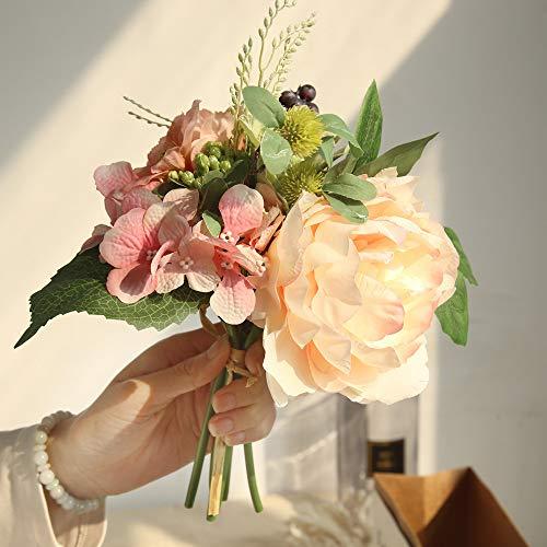 Yazidan Ramo de flores artificiales de satén para boda, ramo de novia, dama de honor, ramo de flores de boda, hojas de rosas con flores, flores falsas, rosas de seda, cabezas de plástico para novia