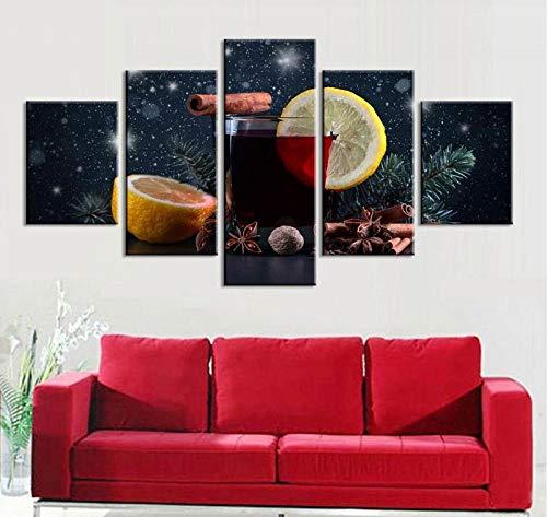 TXFMT geen fotogram, canvas, decoratie, handgemaakt, voor dranken, sap van fruit, druk op canvas, HD, 5 stuks 200*100CM