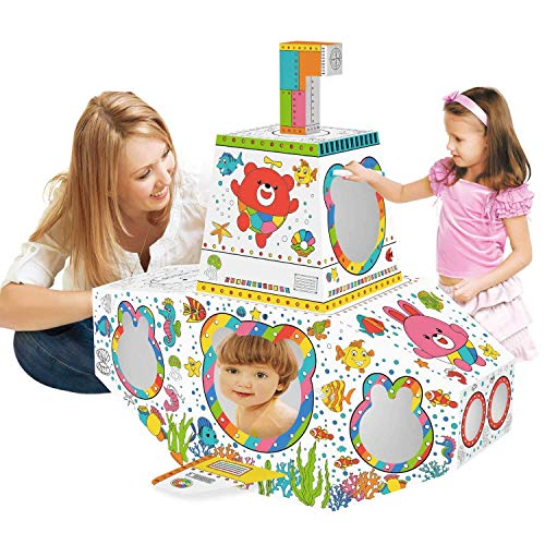 Leo & Emma Spielhaus 83 x 70 x 80 cm DIY Doodle Zeichnen Kunst Bastelset für Kinder Pappe Spielhaus Malhaus zum Bemalen und Dekorieren inkl. Stifte (U-Boot)