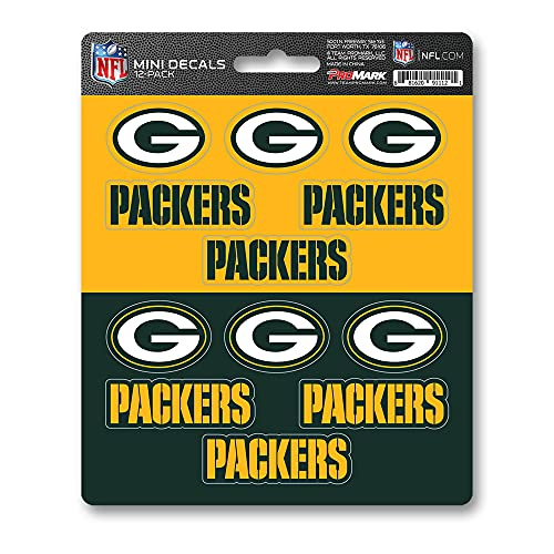 ProMark NFL Green Bay Packers DecalDecal Set Mini 12 Pack, Team Colors, One Size