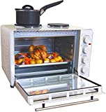 Igenix IG7145 Mini Oven with Electric Double Hotplate Hob, Ideal for Roasting, Grilling