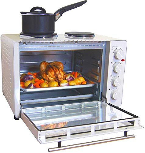 Igenix IG7145 Mini Oven with Electric Double Hotplate Hob, Ideal for Roasting, Grilling and Reheating with Aluminium Baking Tray, 45 Litre, White