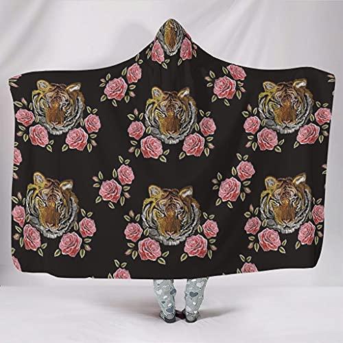 Tiger Rose - Manta con capucha multifuncional de franela para adultos y niños, color blanco, 150 x 200 cm