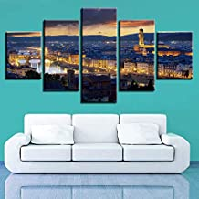 Poster painting Home decoration prints images 5 pieces aesthetic Florence city Cathedral bell Tower painting night landscape canvas poster wall art-40x60cm/80cm/100cm
