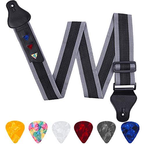 URATOT Gitarrengurt, verstellbar, Lederenden, Gitarrengurt mit 3 Plektrenhaltern und 6 Plektren schwarz / grau