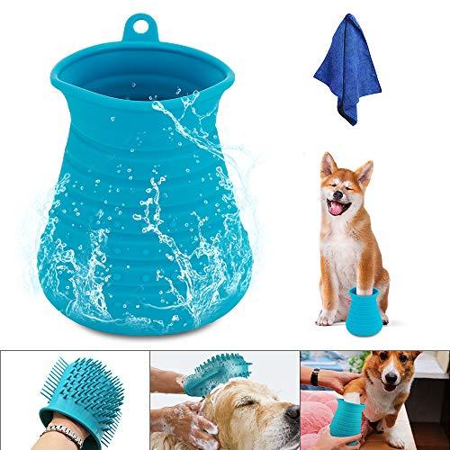 Hunde Pfotenreiniger,Komake Pfoten Reiniger Tragbarer Haustier Reinigung Pinsel Tasse Hundepfote Reiniger Fuß Reinigungsbürste Fuß Waschen Tasse Für Hunde Katzen u.Andere Haustiere - Blau,mit Handtuch