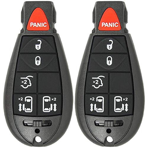 Mushan Pack of 2 Keyless Entry 6 Button Key Remote Control Replacement Fob Transmitter Fits For Grand Cherokee 2008-2013,for Ram 1500 2500 3500 2008-2010, for Chrysler Town & Country 2008-2015