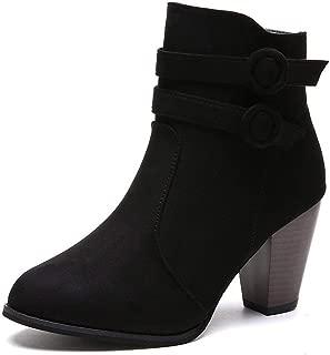 Autumn Winter Boots Women Camel Black Ankle Thick Heel Slip Ladies Shoes Bota Feminina 35 43