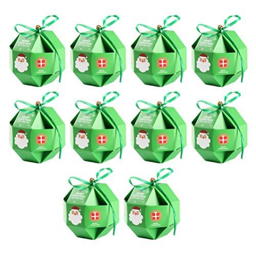 VOSAREA Scatole Regalo di Natale da 10 Pezzi con Decorazioni Natalizie a Forma di Nastro Decorazioni Natalizie per Bomboniere per Bomboniere per Feste Natalizie Verdi