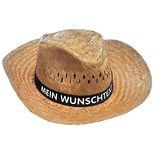 Nashville print factory Strohhut mit Wunschtext Bedruckt auf farbigem Hutband Sonnenhut Sommerhut Hat Partyhut JGA Junggesellenabschied