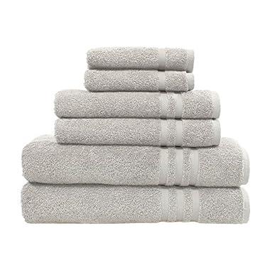 Linum Home Textiles 100% Turkish Cotton Denzi 6 Piece Combo, Towel Set, Light Grey