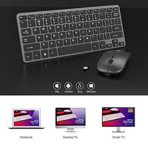 Inphic Kabellose Tastatur und Maus, wiederaufladbar, ultradünn, leise, 2,4 G, kabellose Maus, QWERTY-Layout mit 12 Multimedia-Tasten für PC, Computer, Laptop, Mac