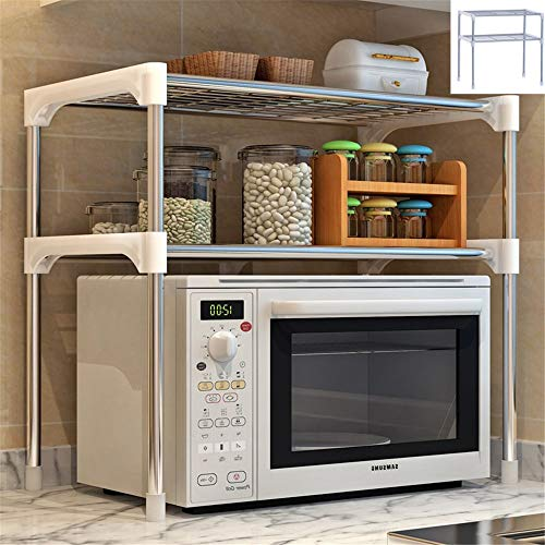 SITAKE Soporte para microondas de 2 niveles, multifuncional, para microondas, de malla fina, de acero inoxidable, color plateado