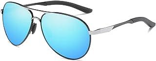 Fashion Night Vision Goggles Silver/Blue Men and Women with The Same Driving Sunglasses Polarized New Fashion Metal Sunglasses Retro (Color : Blue)
