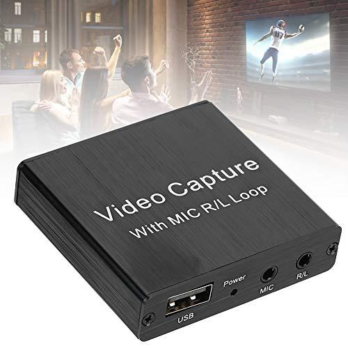 cigemay Tarjeta de Captura de Video HDMI, Caja de grabación de micrófono 4K Salida estéreo de 3,5 Mm Compatible con Profundidad de Color de 8/10/12 bits, Caja de Monitor de grabación de transmisión