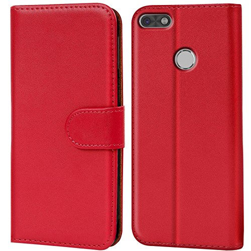 Conie Handyhülle für Huawei P9 Lite Hülle, Premium PU Leder Flip Hülle Booklet Cover Weiches Innenfutter für P9 Lite Tasche, Rot