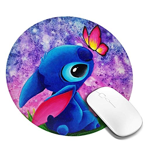 Manzox Non-Slip Round Mouse Pad, Waterproof Mouse Mat,Rubber Base Office Mousepad(Stitch).