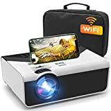 "GRC Mini Projector, Portable WiFi Movie Projector with Synchronize Smart Phone Screen, 1080P and 200"" Display Supported , Compatible with Android, iOS, TV Stick, HDMI, USB , AV for Home/ Outdoor Movie"