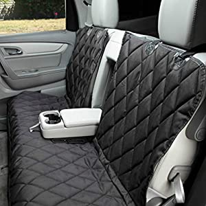 4Knines Dog Seat Cover Without Hammock for Fold Down Rear Bench Seat 60/40 Split and Middle Seat Belt Capable – Heavy Duty – Black Regular – Fits Most Cars, SUVs, and Small Trucks – USA Based Company