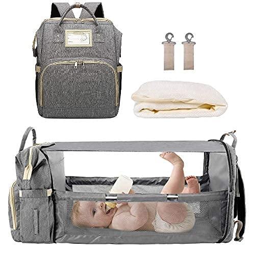 MYWILON Mochila cambiador 3 en 1 para bebé y mamá – Gran capacidad – Bolsa de pañales multifunción impermeable – Bolsa de viaje con cama para bebé (Gris)