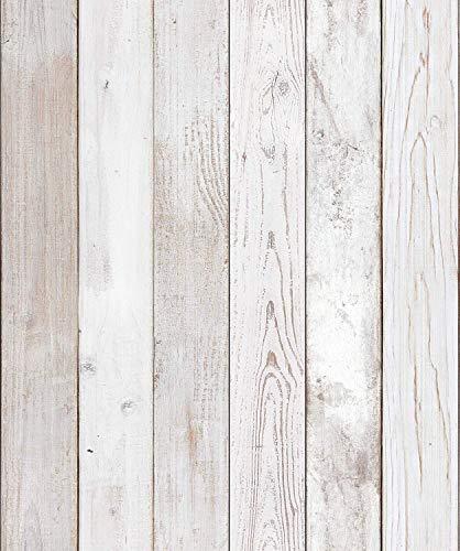 """(Original2 Vintage, Paquete de 2) Papel tapiz de mural autoadhesivo con veta de madera reciclada y rústica 50cm X 3M (19,6"""" X 118""""), 0,15mm Para revestimiento de restauración de muebles, sala de estar"""