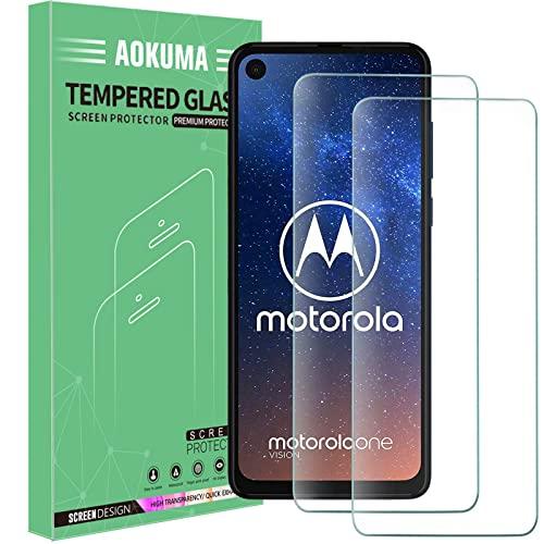 AOKUMA für Motorola One Vision Panzerglas, 【2 Stücke】 Glas kompatibel mit Motorola One Vision Schutzfolie, Premium Glasfolie mit 9H Festigkeit, Anti Kratzer, Splitterfest,Anti-Öl,Anti-Bläschen