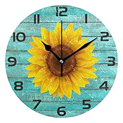 GRTARANY Rustic Sunflower Teal Wooden Wall Clock Wave Round Clock Silent Non Ticking Decorative 9.5 Inch Battery Operated Quartz Analog Quiet Bedroom Living Room Home Decor