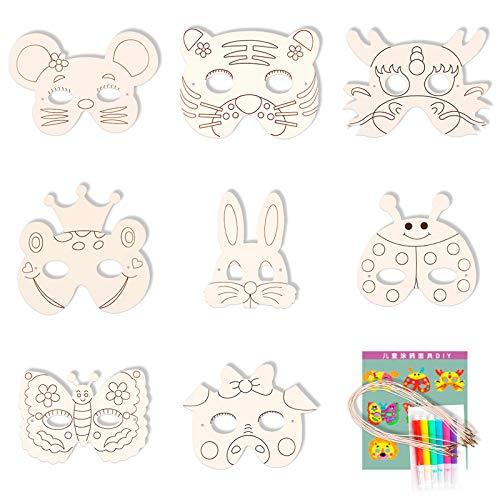 Gxhong Tiermasken Kinder, DIY Blanko Bemalen Masken mit Aquarellstift, Masken zum Ausmalen, Kinder Party Masken, Geburtstag Augenmaske 8 Stück
