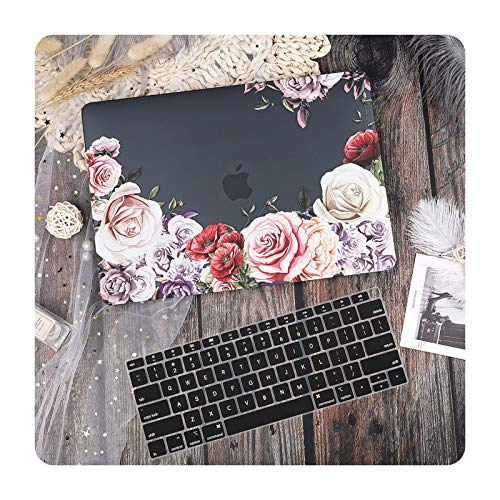 New marble Laptop Case Cover for Air 13 Mac Book 2019 A1932 Retina Pro 13 15' Touch bar A2159 A251 A2289 +Keyboard Cover-Black-Pro 2020 A2251 A2289