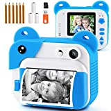 PROGRACE Instant Print Camera for Kids, Kids Instant Camera for Travel Learning Birthday
