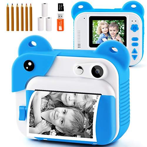PROGRACE Sofortdruckkamera für Kinder, Kinder Sofortbildkamera für Reisen Lernen Geburtstagsgeschenk, tragbare Digitale Kreativdruckkamera für Mädchen