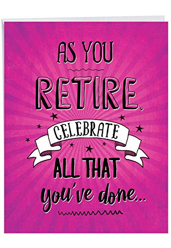 As You Retire - Congratulations Retirement Greeting Card with Envelope (Letterhead 8.5 x 11 inch) - Coworker, Employee Farewell Card From All of Us - Big Congrats, Retiree Stationery J6875RTG-US