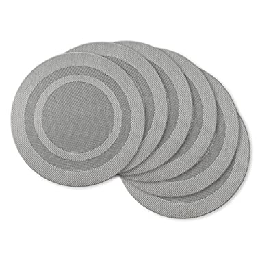 DII Everyday, Easy to Clean Indoor/Outdoor Woven Vinyl 14  Round Double Border Placemats, Silver, Set of 6